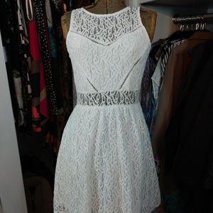 So Pretty! GB White Lace Sleeveless Dress Eyelets